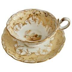 Coalport Porcelain Teacup, Beige with Landscapes, Rococo Revival, ca 1840