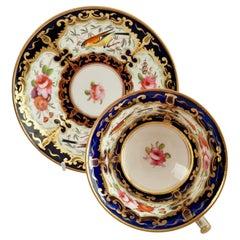 Coalport Porcelain Teacup, Cobalt Blue, Gilt and Birds Patt. 759, Regency c 1815