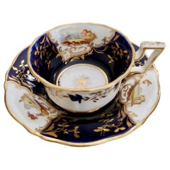Coalport Porcelain Teacup, Cobalt Blue with Landscapes, Regency, circa 1823