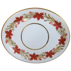 Coalport Porcelain Teapot Stand Decorated with a Border of Red and Gilt Flowers