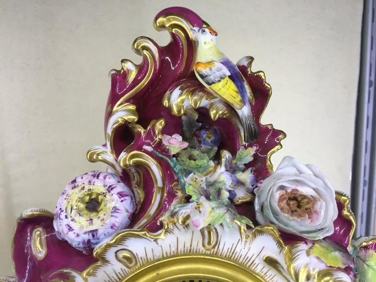 William IV Victorian Antique Porcelain Mantel Clock by Benjamin Lewis Vulliamy, London