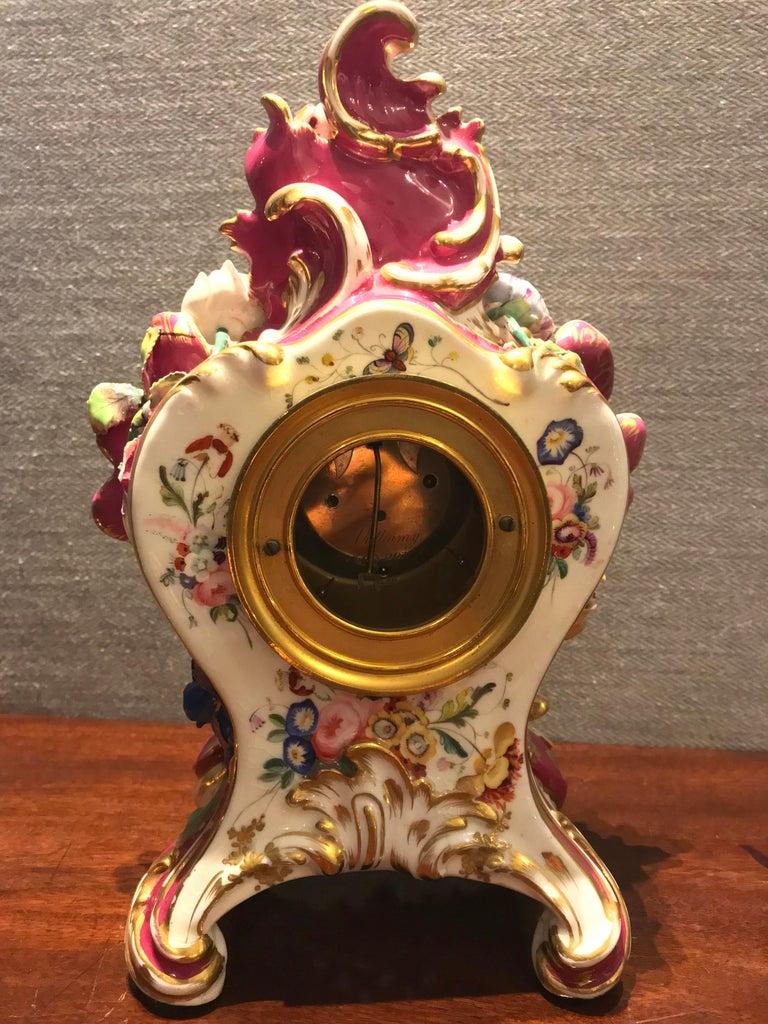 Victorian Antique Porcelain Mantel Clock by Benjamin Lewis Vulliamy, London In Good Condition In Devon, GB