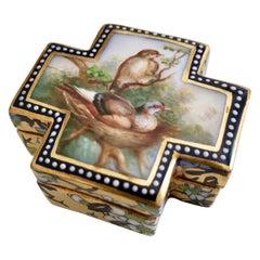 Coalport Porcelain Trinket Box, Japonism, Birds by John Randall, 1865-1870
