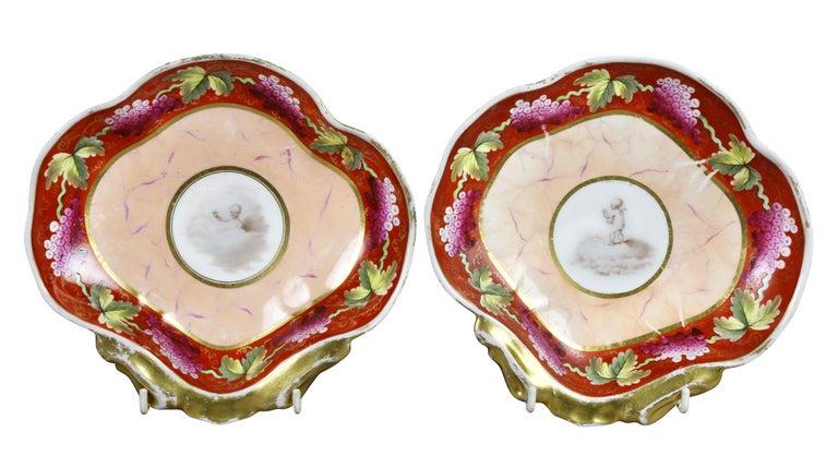 Early 19th Century Coalport Pottery Part Dessert Service For Sale