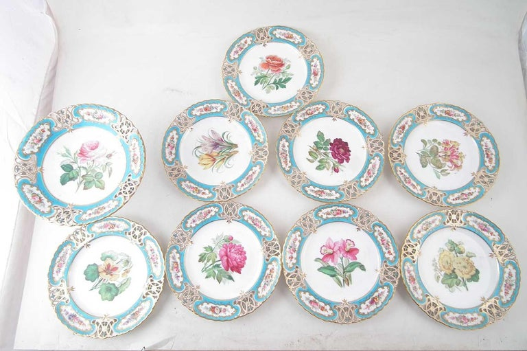 British Colonial English Minton Reticulated Royal Arms Botanical Turquoise Dessert Service For Sale