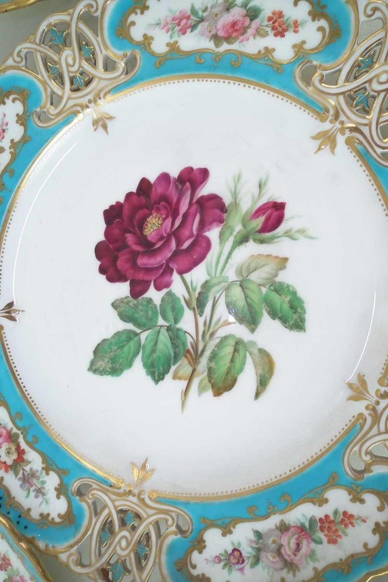 British English Minton Reticulated Royal Arms Botanical Turquoise Dessert Service For Sale