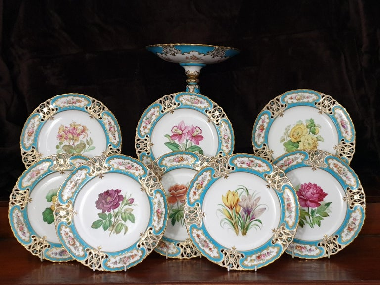 19th Century English Minton Reticulated Royal Arms Botanical Turquoise Dessert Service For Sale