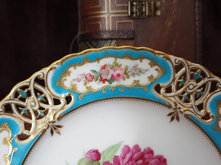 Porcelain English Minton Reticulated Royal Arms Botanical Turquoise Dessert Service For Sale