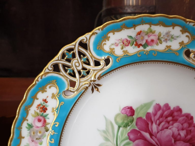 English Minton Reticulated Royal Arms Botanical Turquoise Dessert Service For Sale 1