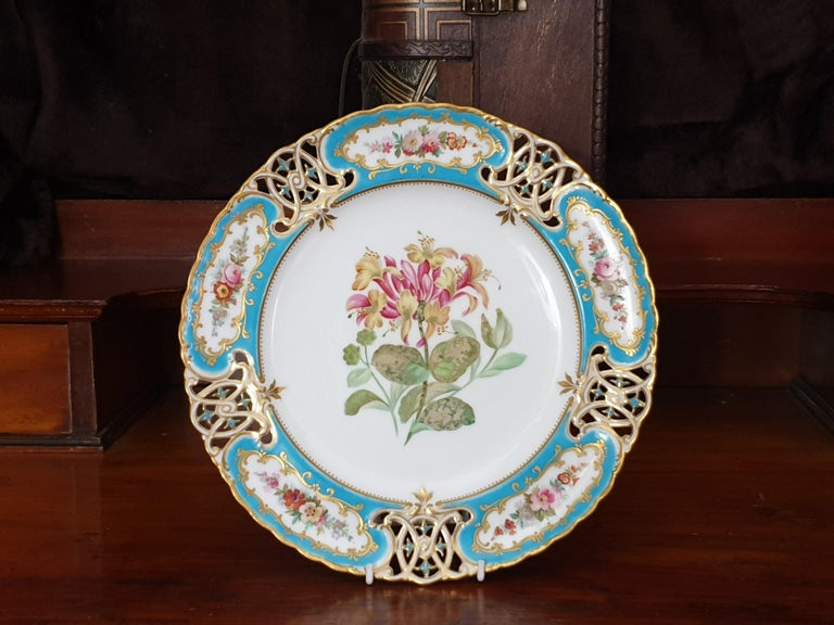 English Minton Reticulated Royal Arms Botanical Turquoise Dessert Service For Sale 2