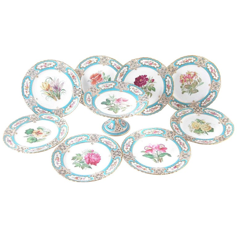 English Minton Reticulated Royal Arms Botanical Turquoise Dessert Service For Sale