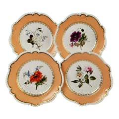 Coalport Set of 4 Plates, Peach with Flowers, Porcelain, Regency 1820-1825