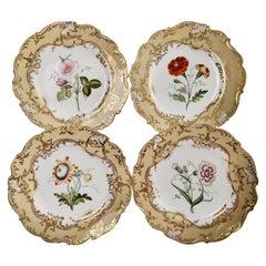 Coalport Set of 4 Porcelain Plates, Beige with Flowers Attr. John Toulouse, 1844