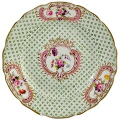 Coalport Small Porcelain Plate, Green and Gilt, Flowers, Regency, circa 1820