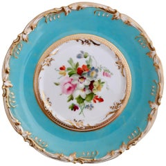 Coalport Small Porcelain Plate, Sky Blue with Flowers by Thomas Dixon, 1845-1850
