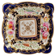 Coalport Square Porcelain Dish, Patt. 759 Birds and Flowers, Regency, circa 1815