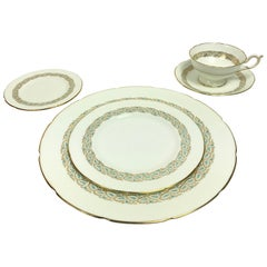 Coalport Starburst Aqua and Gold 5-Piece Place Service for 11 China Service