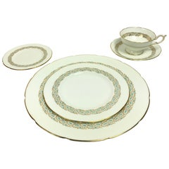 Coalport Starburst Aqua and Gold 5-Piece Place Service for 12 China Service