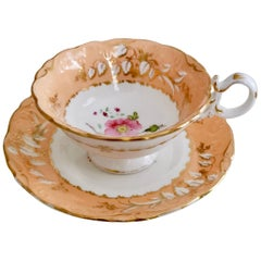 Coalport Teacup, Adelaide Shape, Peach-Colored with Roses, circa 1839