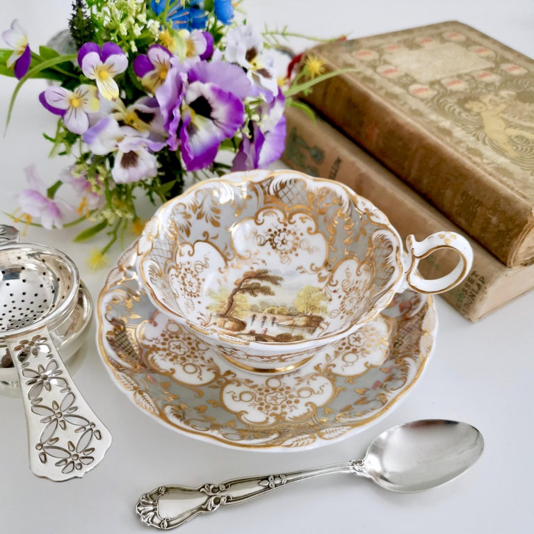 This is a beautiful teacup and saucer made by Coalport in 1831. It was made in the famous