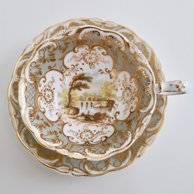 Rococo Revival Coalport Teacup, Adelaide Shape with Superb Landscapes, 1831 '1'