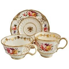 Coalport Teacup Trio, Floral, Hockeystick Shape Patt.966, Regency, circa 1820