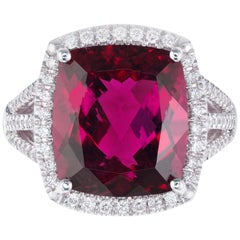 Coast 8.20 Carat Rubellite Pink Tourmaline Diamond White Gold Halo Ring