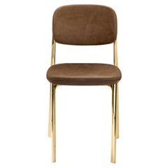 Coast Chair in Chocolate Forest Leather with Polished Brass by Branch