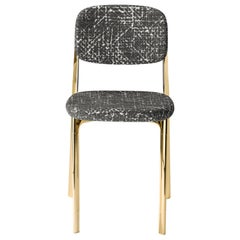 Coast Chair in Dark Gray Fabric with Polished Brass by Branch