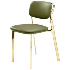 Coast Chair in Green Natural Leather with Polished Brass by Branch