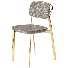 Coast Chair in Light Grey Fabric with Polished Brass by Branch