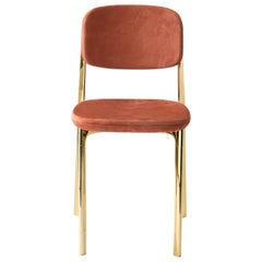 Coast Chair in Lucky Nabuck Leather with Polished Brass by Branch