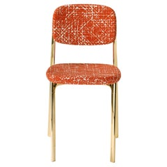 Coast Chair in Orange Fabric with Polished Brass by Branch