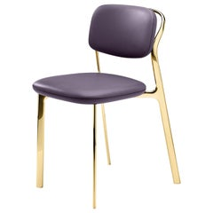 Coast Chair in Purple Natural Leather with Polished Brass by Branch