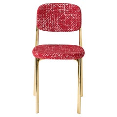 Coast Chair in Red Fabric with Polished Brass by Branch