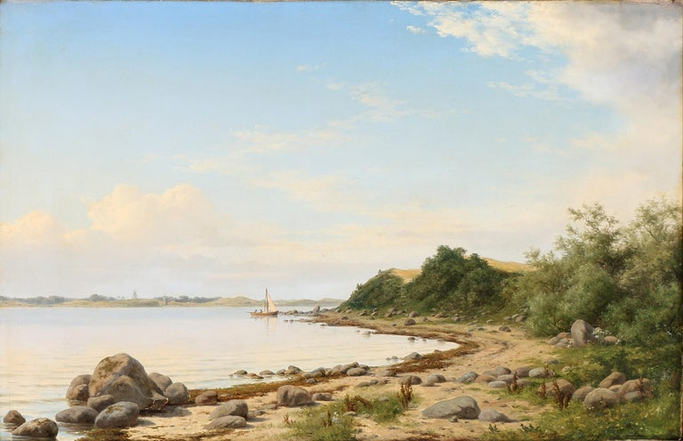 Carl Baagøe, Danish Marine artist 1829-1902: Coastal scape with sail boat and drifting clouds. Signed and dated Carl Baagøe, 1872. Oil on canvas. Carl Baagoe was a talented artist, studying at the Royal Danish Academy of Fine Arts. He travelled to