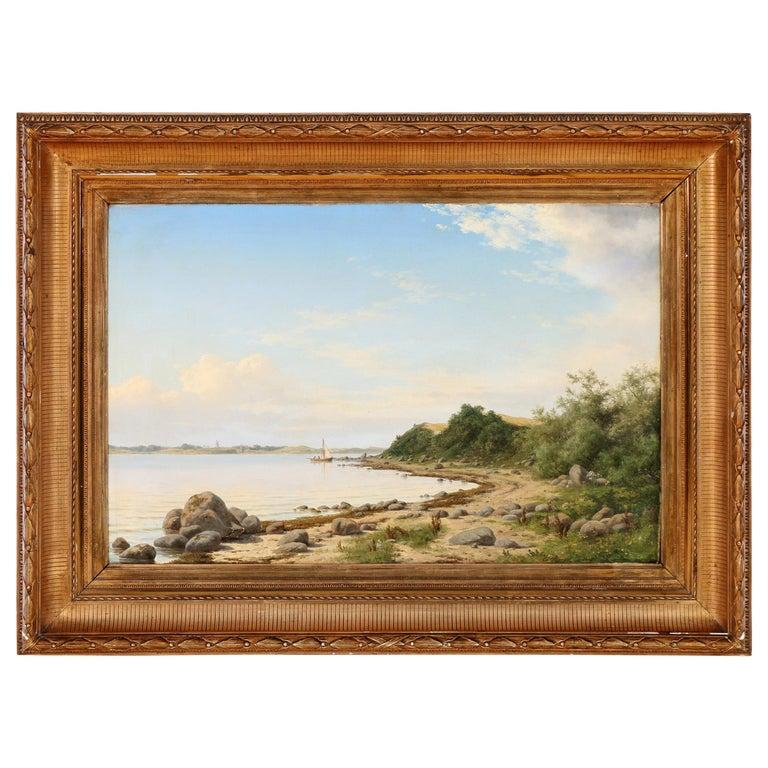 Coastal Landscape Painting by Carl Baagøe For Sale