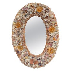 Coastal Oval Sea Shell Encrusted Wall Mirror