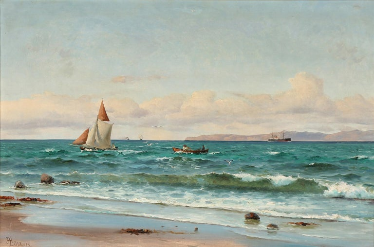 Holger Lübbers, Danish artist, Copenhagen 1850-1931. Holger Lubbers mostly concentrated his fine marine landscapes on Copenhagen harbor and the North Coast of Sjaelland. This painting features the coast off Hornbæk with Kullen in the distance.