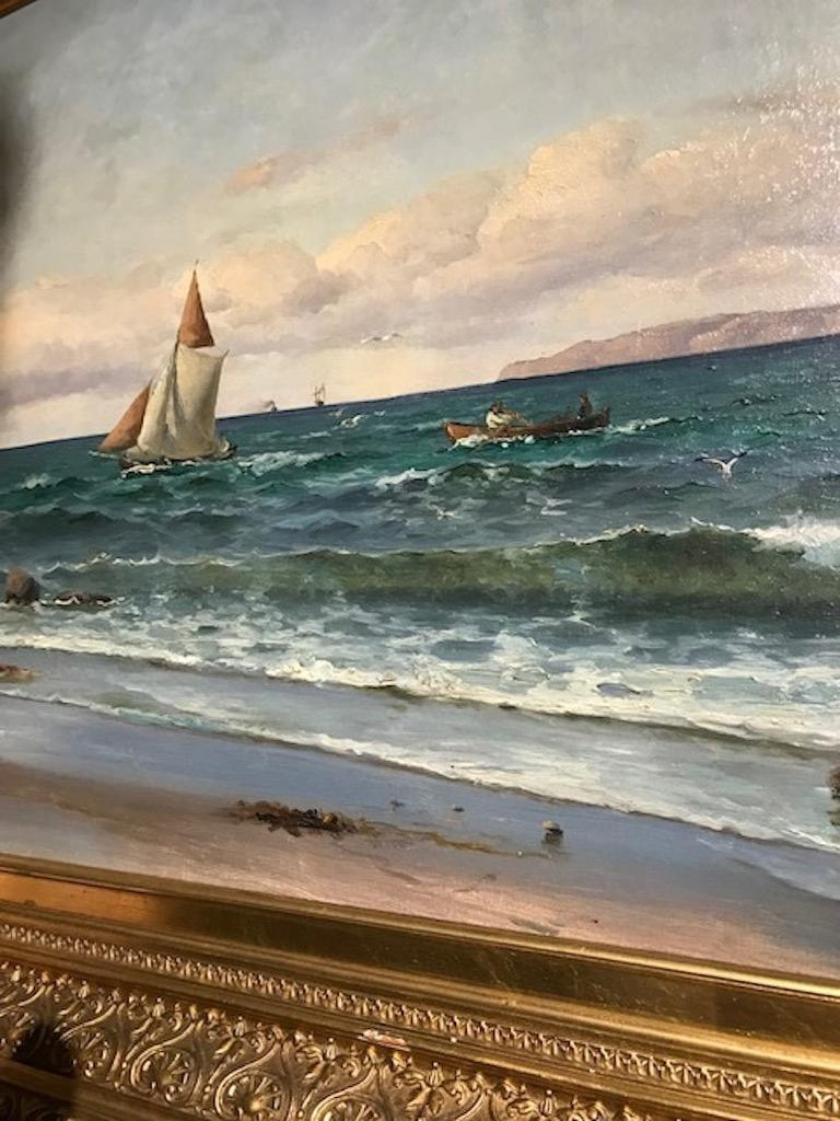 Romantic Coastal Painting by Holger Lübbers For Sale
