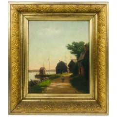 """Coastal Scene"" Oil on Board Painting by Sidney Lawrence Brackett '1852-1910'"
