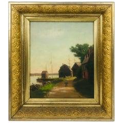 """""""Coastal Scene"""" Oil on Board Painting by Sidney Lawrence Brackett '1852-1910'"""