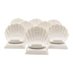 Coastal White Ceramic Shell Motif Place Card Holders, Set of 8