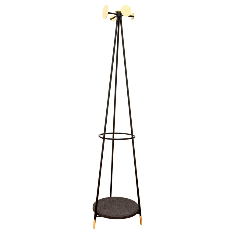 Modern Coat and Umbrella Stand, Brass and Metal, Contemporary Mexican Design For Sale
