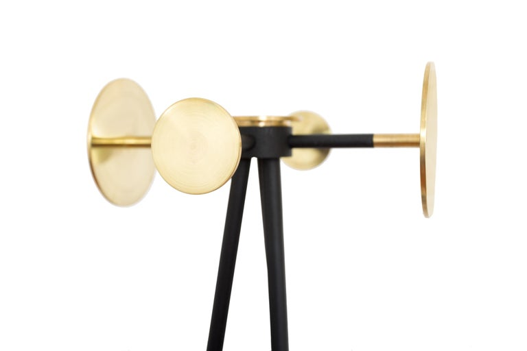 Hand-Carved Coat and Umbrella Stand, Brass and Metal, Contemporary Mexican Design For Sale