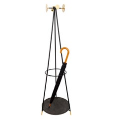 Coat and Umbrella Stand, Brass and Metal, Contemporary Mexican Design