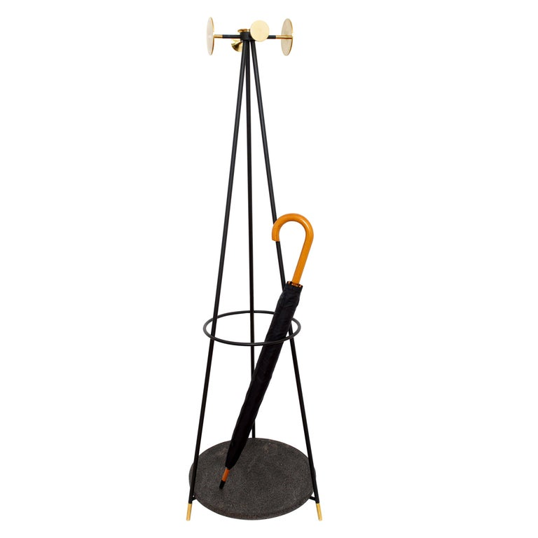 Coat and Umbrella Stand, Brass and Metal, Contemporary Mexican Design For Sale