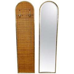 Coat Hanger and Mirror, Rattan and Golden Metal, Gabriella Crespi Style, 1960s