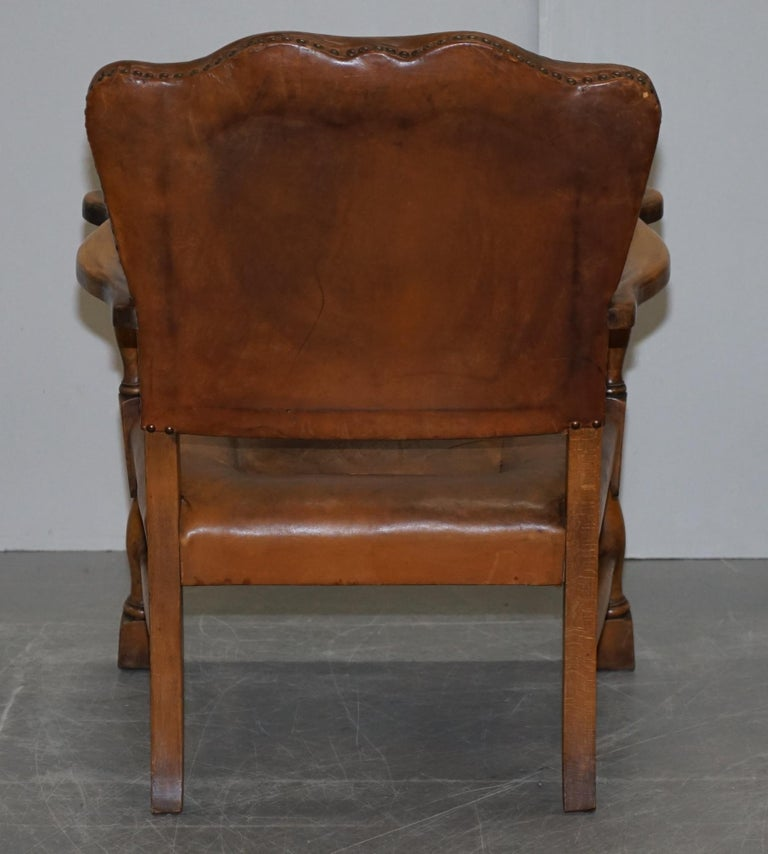 Coat of Arms Armorial Crest Edwardian Oak & Brown Leather Smart Club Armchairs For Sale 6