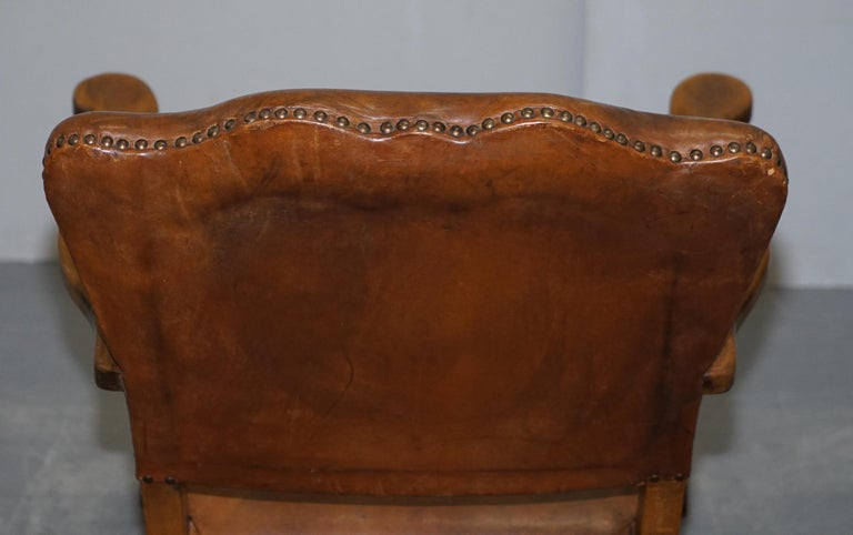 Coat of Arms Armorial Crest Edwardian Oak & Brown Leather Smart Club Armchairs For Sale 7